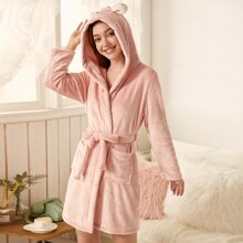 Cartoon Graphic 3D Ear Belted Flannel Robe