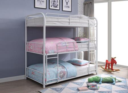 Cairo Collection 38110 Twin Size Triple Bunk Bed with Slat System Included  Built-In 2 Front Ladders  Easy Access Guard-Rail and Metal Frame
