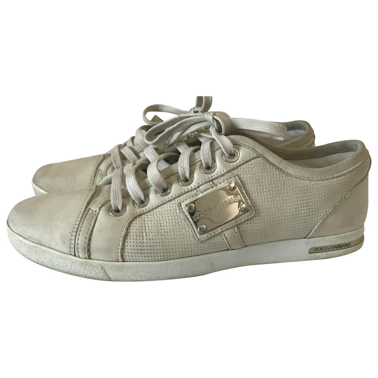 Dolce & Gabbana \N Sneakers in  Ecru Leder