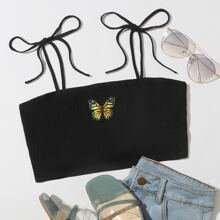 Knot Strap Butterfly Embroidery Rib-knit Crop Cami Top