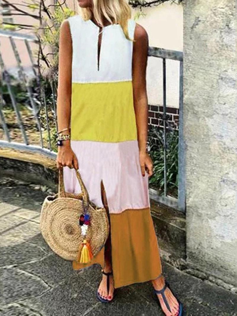 Ericdress Sleeveless Mid-Calf V-Neck A-Line Color Block Dress