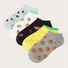 Pineapple & Strawberry Pattern Ankle Socks 5pairs