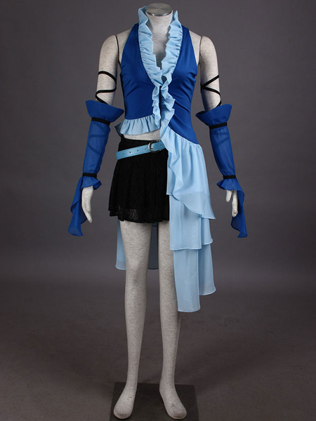 Milanoo Final Fantasy Ruffles Mesh PU Cosplay Costume  Halloween