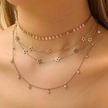 2 Stuecke Halskette mit Stern Dekor