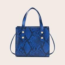 Snakeskin Print Satchel Bag