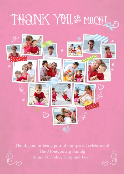 Thank You Cards 5x7 Folded Cards, Standard Cardstock 85lb, Card & Stationery -Thank You Pink Snapshots Heart