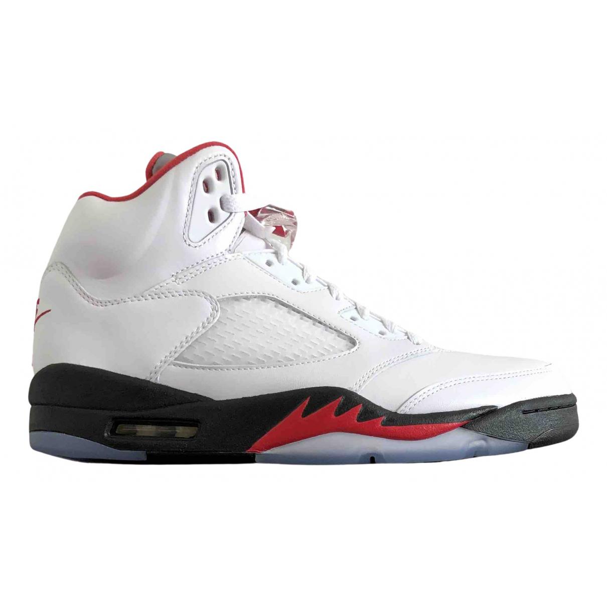 Jordan - Baskets Air Jordan 5 pour homme en cuir - blanc