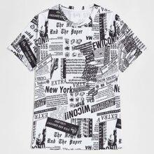 Men Newspaper Print Tee