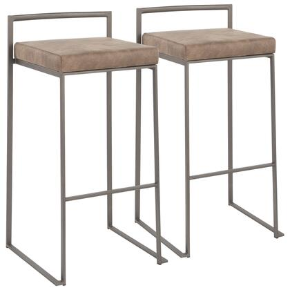 Fuji Collection B30-FUJIANFBN2 Set of 2 Bar Height Stool with Stackable Design  Industrial Style and Fabric Upholstery in Brown Cowboy