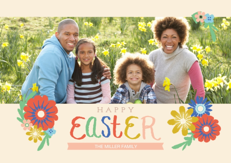Easter Cards 5x7 Cards, Premium Cardstock 120lb with Rounded Corners, Card & Stationery -Happy Easter Script