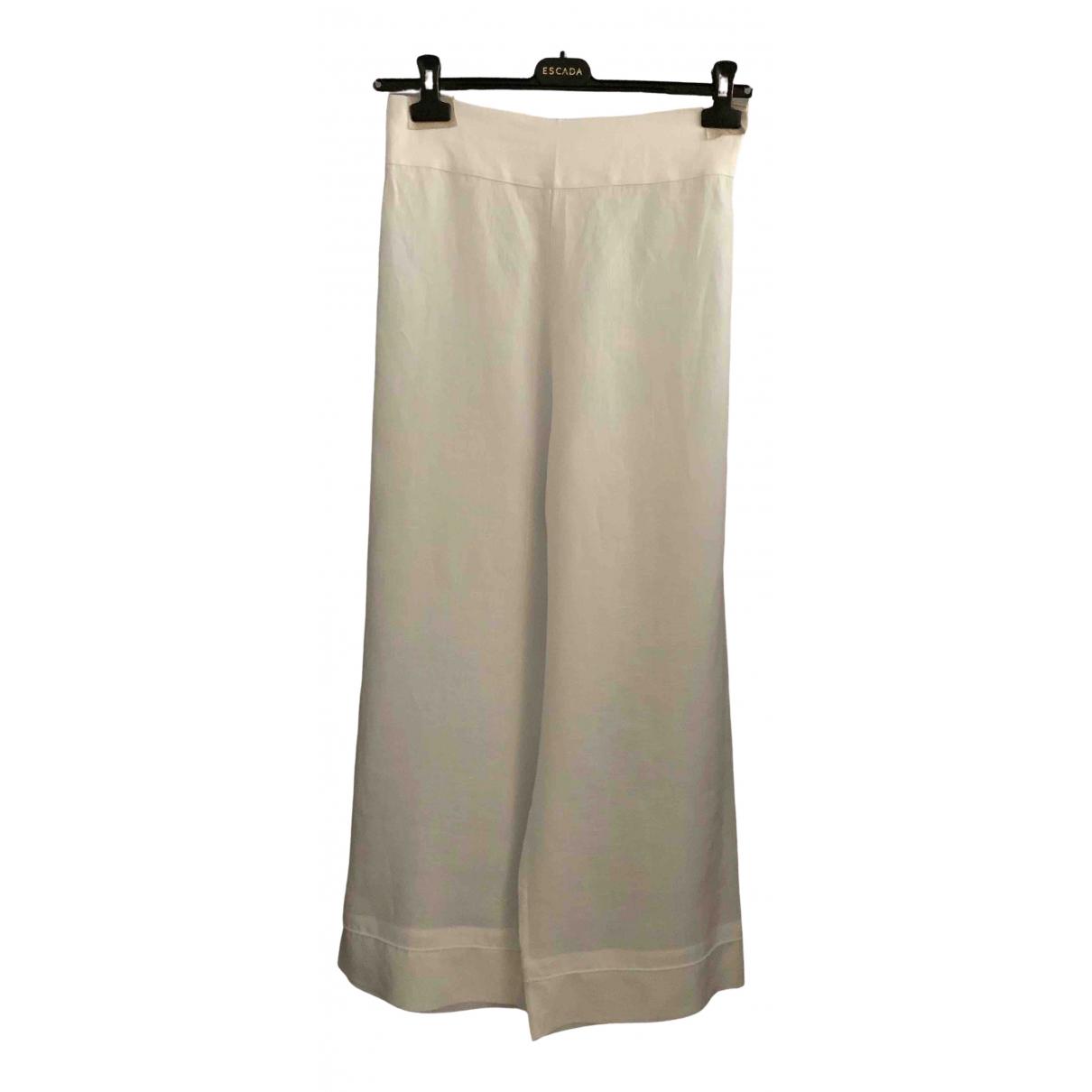La Perla \N White Linen Trousers for Women 46 IT