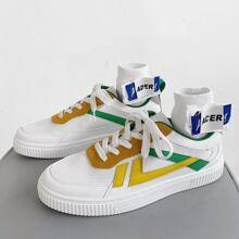 Maenner Skate Schuhe mit Band vorn und Farbblock