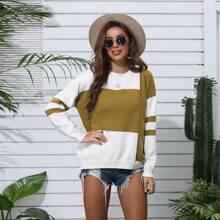 Pullover mit Streifen Muster und Farbblock
