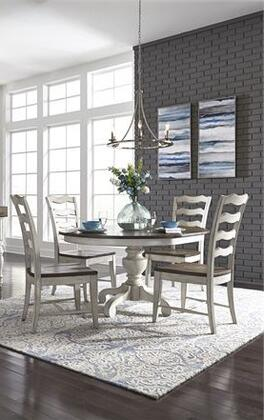 Parisian Marketplace Collection 698-DR-5PDS 5PC Pedestal Table Set with 1 Pedestal Table and 4x Ladder Back Side Chairs in Two Tone Heathered