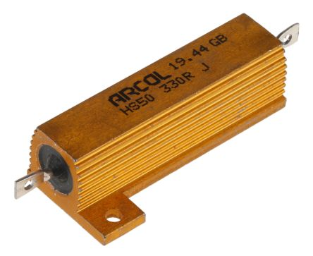 Arcol HS50 Series Aluminium Housed Axial Wire Wound Panel Mount Resistor, 330Ω ±5% 50W (20)
