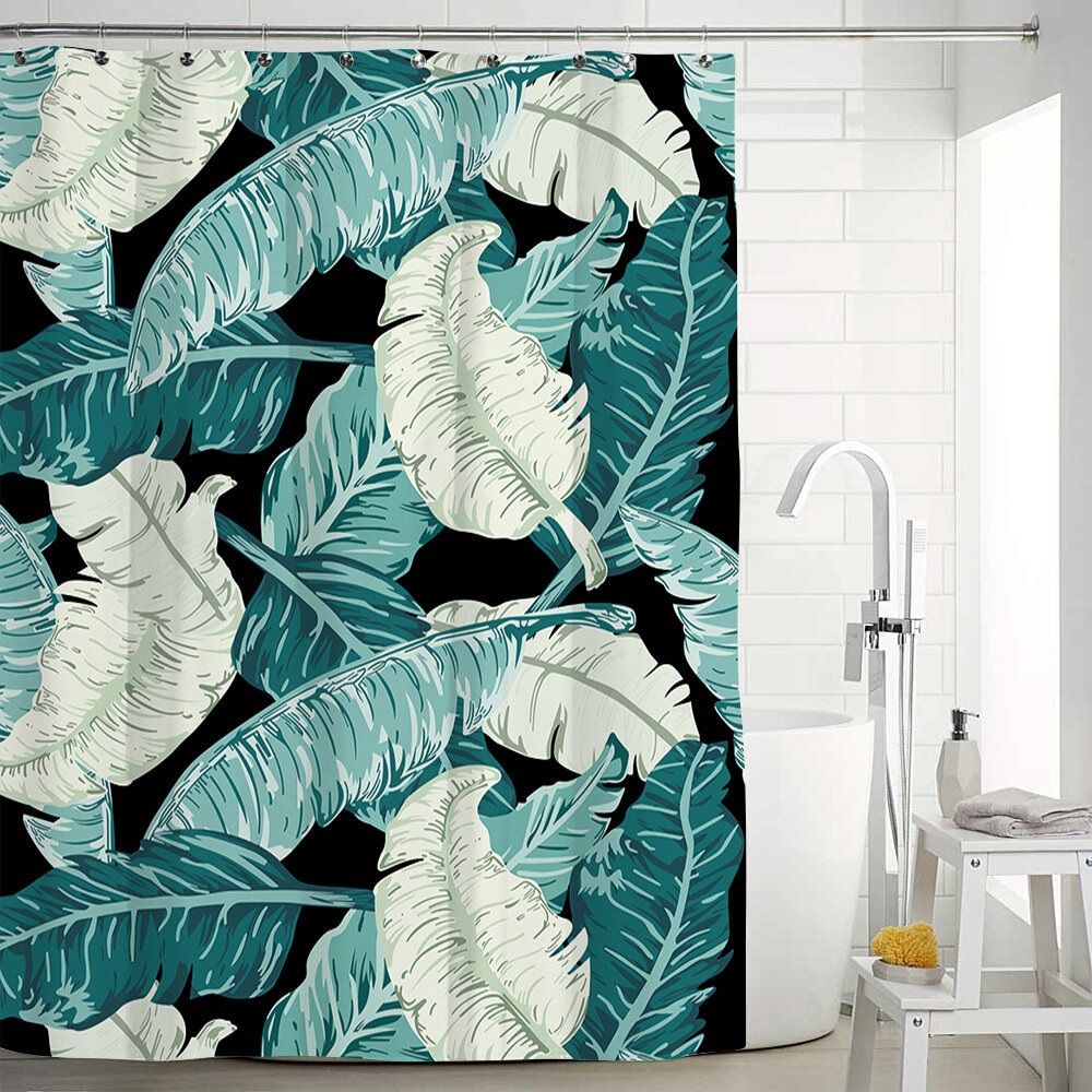 Polyester Shower Curtain Curtains With Hooks Creative Green Leaf Watercolour Floral Pattern Botanical Border Botany 71