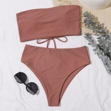 Bandeau Bikini Badeanzug mit Band hinten und hoher Taille