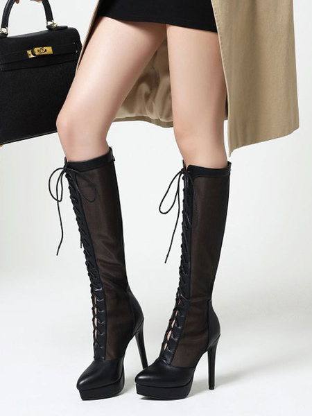 Milanoo Black Summer Boots Pointed Toe Front Lace Knee Length Summer Boots