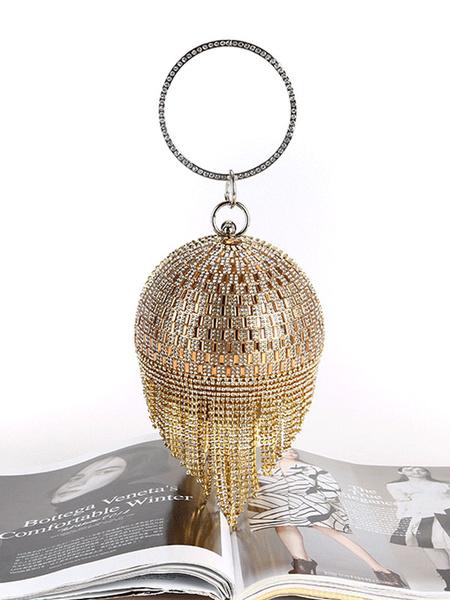 Milanoo 1920s Great Gatsby Accessory Flapper Dress Blond Rhinestones Chain Women Clutch Bags
