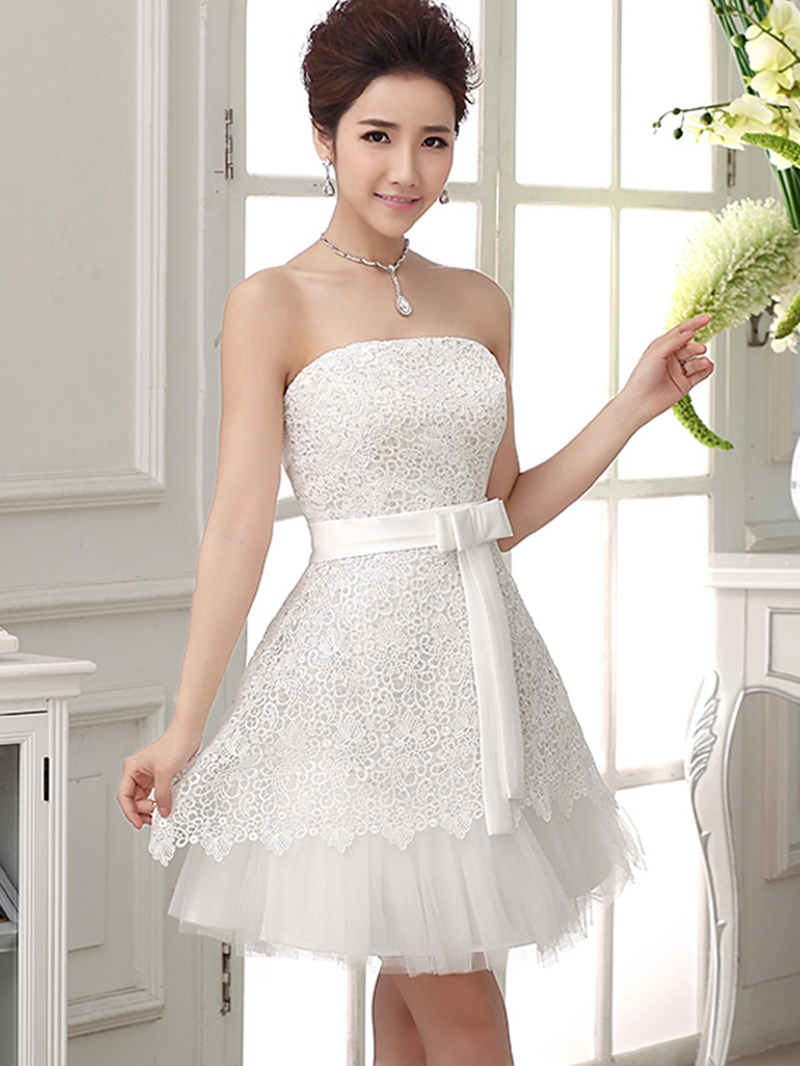 Ericdress Strapless A-Line Lace Bowknot Homecoming Dress