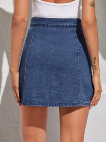 Solid Button Through Denim Skirt
