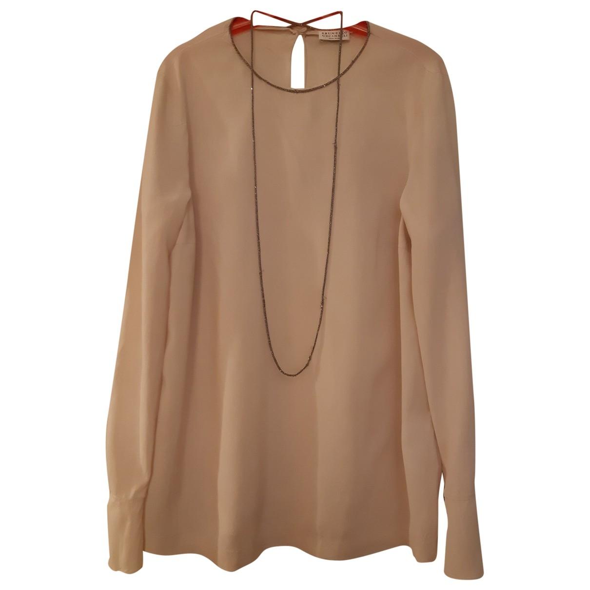 Brunello Cucinelli \N Beige Silk  top for Women 36 FR