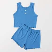 Girls Button Front Lettuce Trim Pajama Set