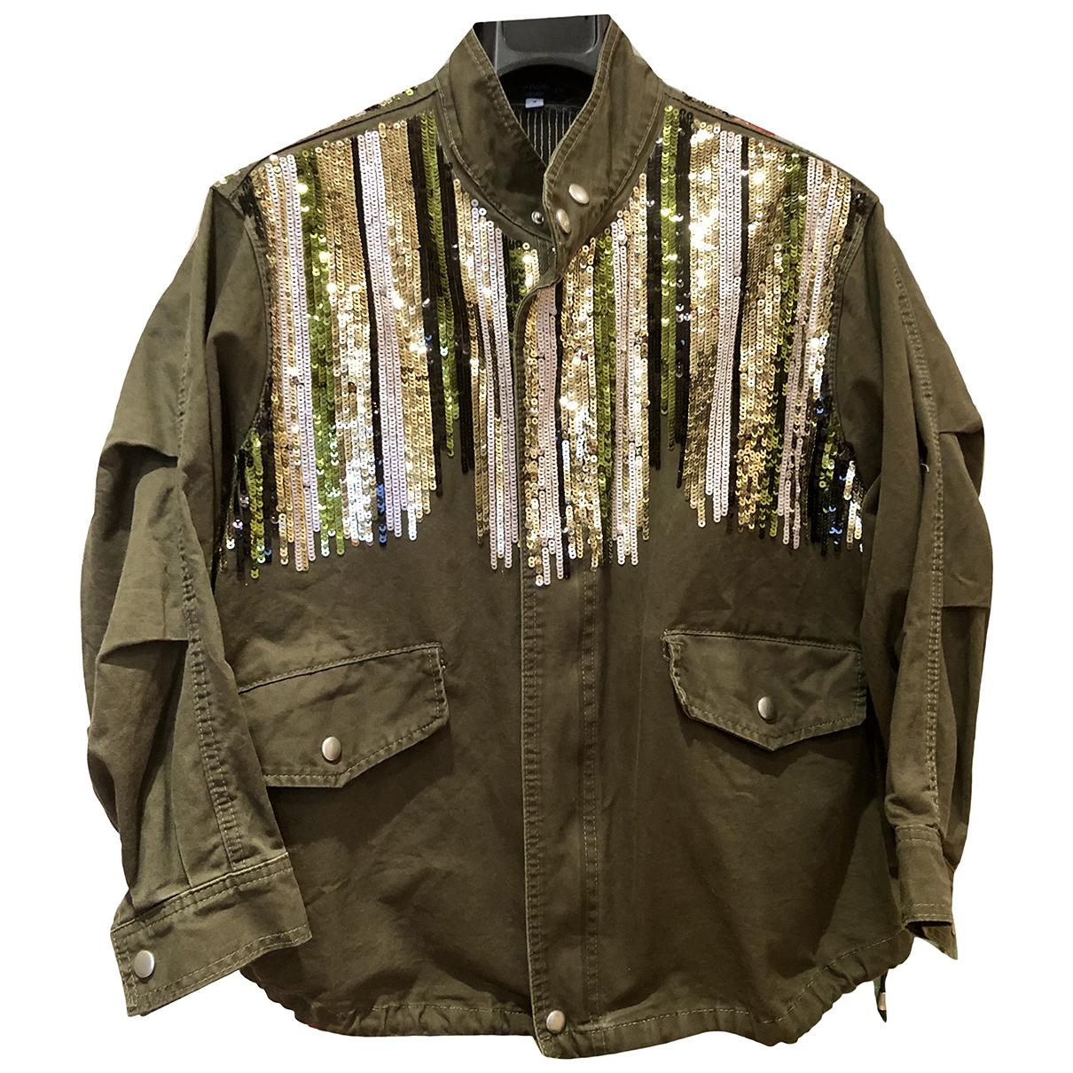 Non Signe / Unsigned Oversize Jacke in  Khaki Mit Pailletten