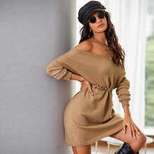 Drop Shoulder Longline Sweater Without Belt