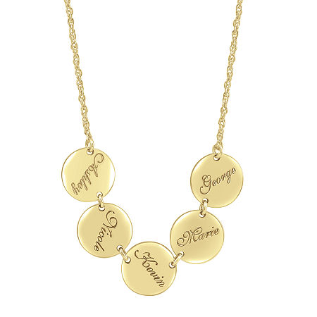 Personalized Disk Family Necklace, One Size , Yellow