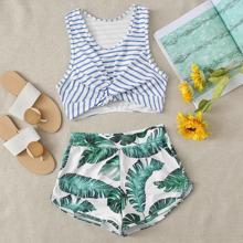 Striped & Tropical Twist Shorts Bikini Swimsuit