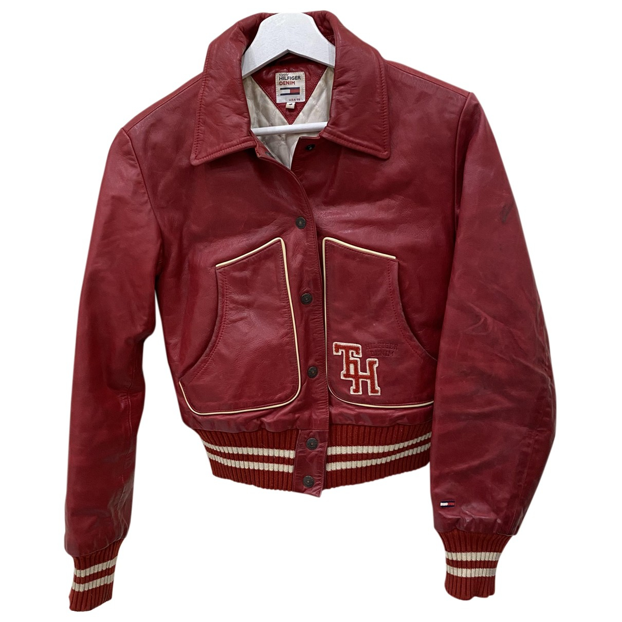 Tommy Hilfiger - Veste   pour femme en cuir - rouge