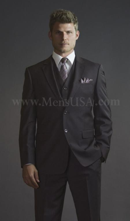 2 Button 3 Piece Brown Pinstripe Fitted affordable suit online sale