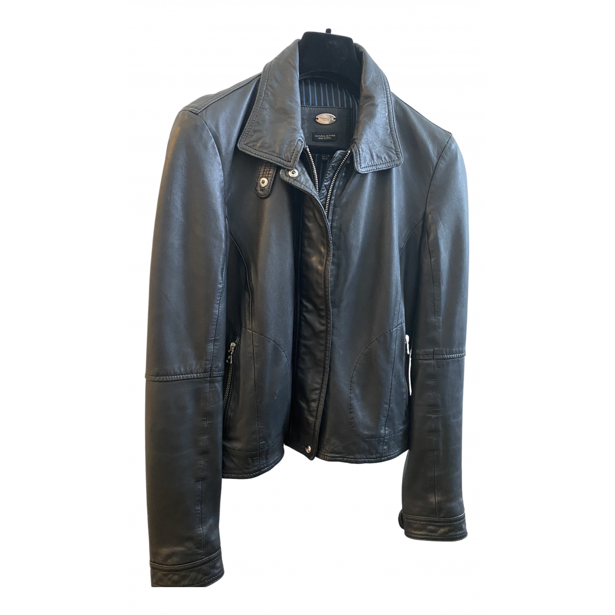 Massimo Dutti N Black Leather Leather jacket for Women L International