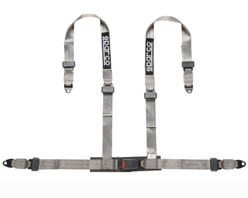 Sparco 04604BMSGR 2 Inch Tuner 4-Point Snap-In Harness Silver
