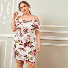 Plus Off Shoulder Flutter Sleeve Floral Print Dress