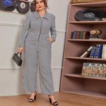 Tweed Jumpsuit mit O-Ring, Reissverschluss und Hahnentritt Muster