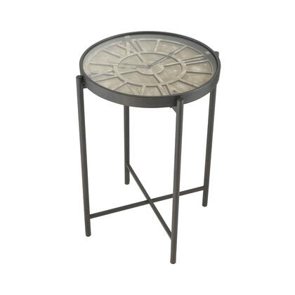 351-10586 Marylebone Bronze With Burnt Oak Wood And Metal Accent Table  In Bronze  Burnt