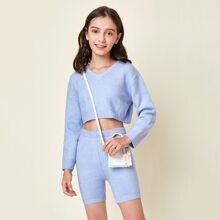 Crop Pullover & Shorts Set ohne Tasche
