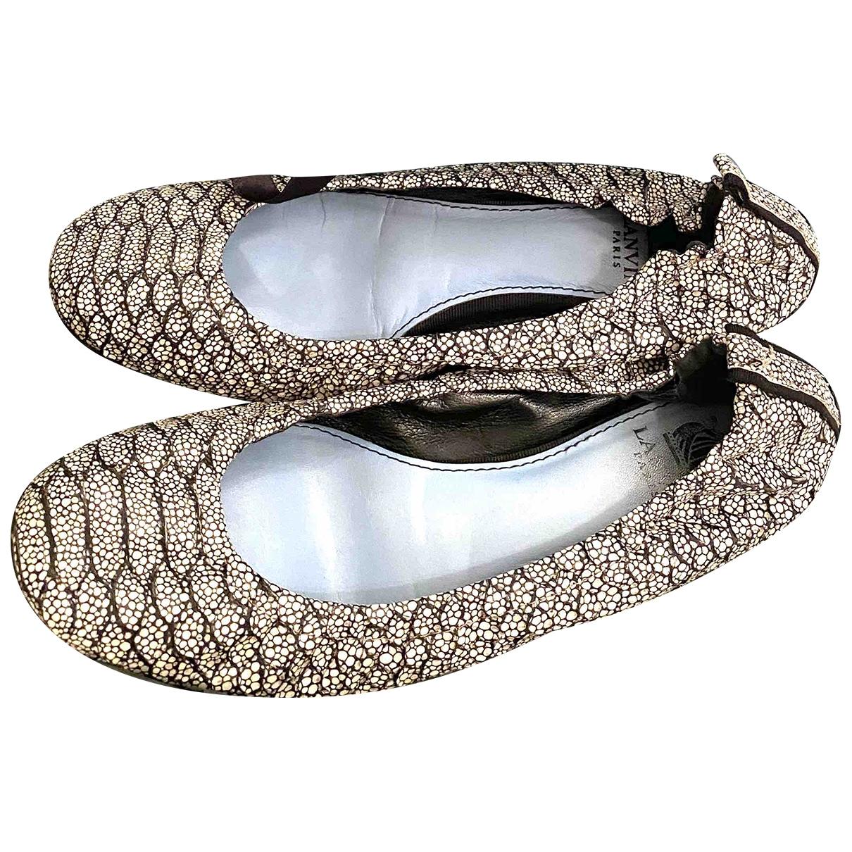 Lanvin - Ballerines   pour femme en cuir - argente