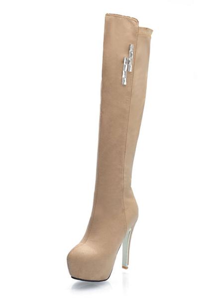Milanoo Platform Over The Knee Boots Womens Micro Suede Metal Details Almond Toe Stiletto Heel Boots