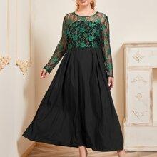Vestidos Tallas Grandes Encaje en contraste Floral Negro Elegante