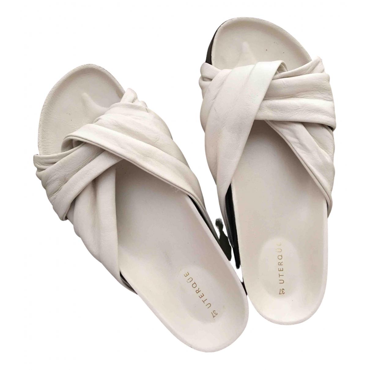 Uterque N Beige Fur Sandals for Women 37 EU