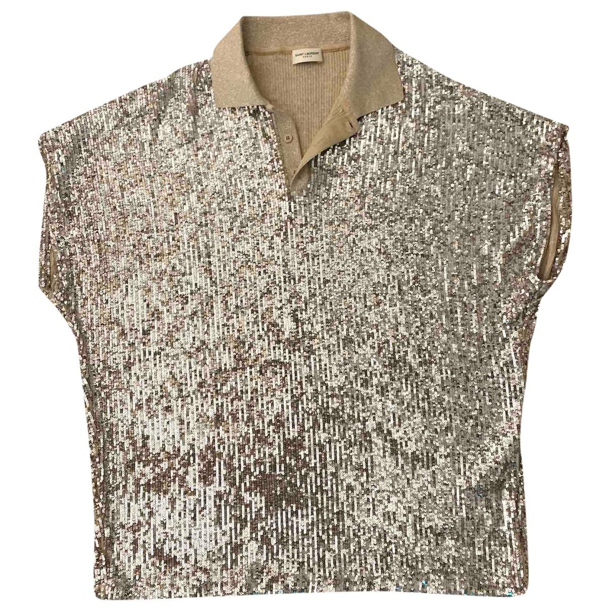 Saint Laurent \N Poloshirts in  Metallic Baumwolle