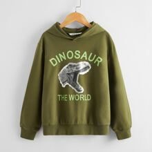 Boys Dinosaur & Slogan Print Drop Shoulder Hoodie