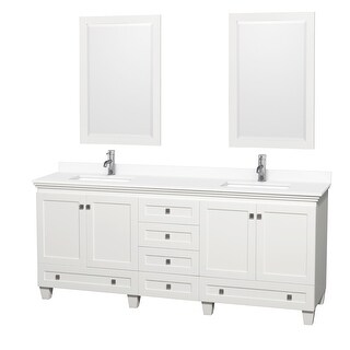 Acclaim 80 Inch Double Vanity, Cultured Marble Top, 24 Inch Mirrors (White, White Cultured Marble)