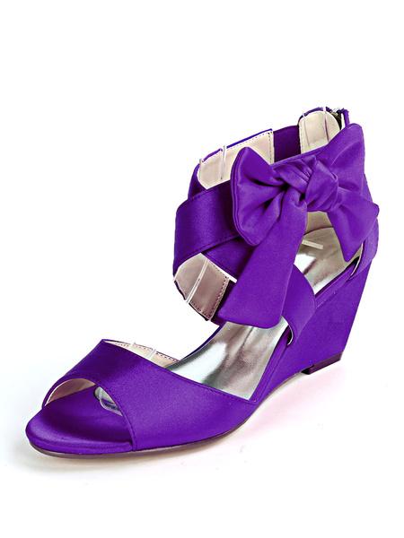 Milanoo Women\'s Wedding Shoes Champagne Satin Bows Open Toe Wedge Heel Bridal Shoes