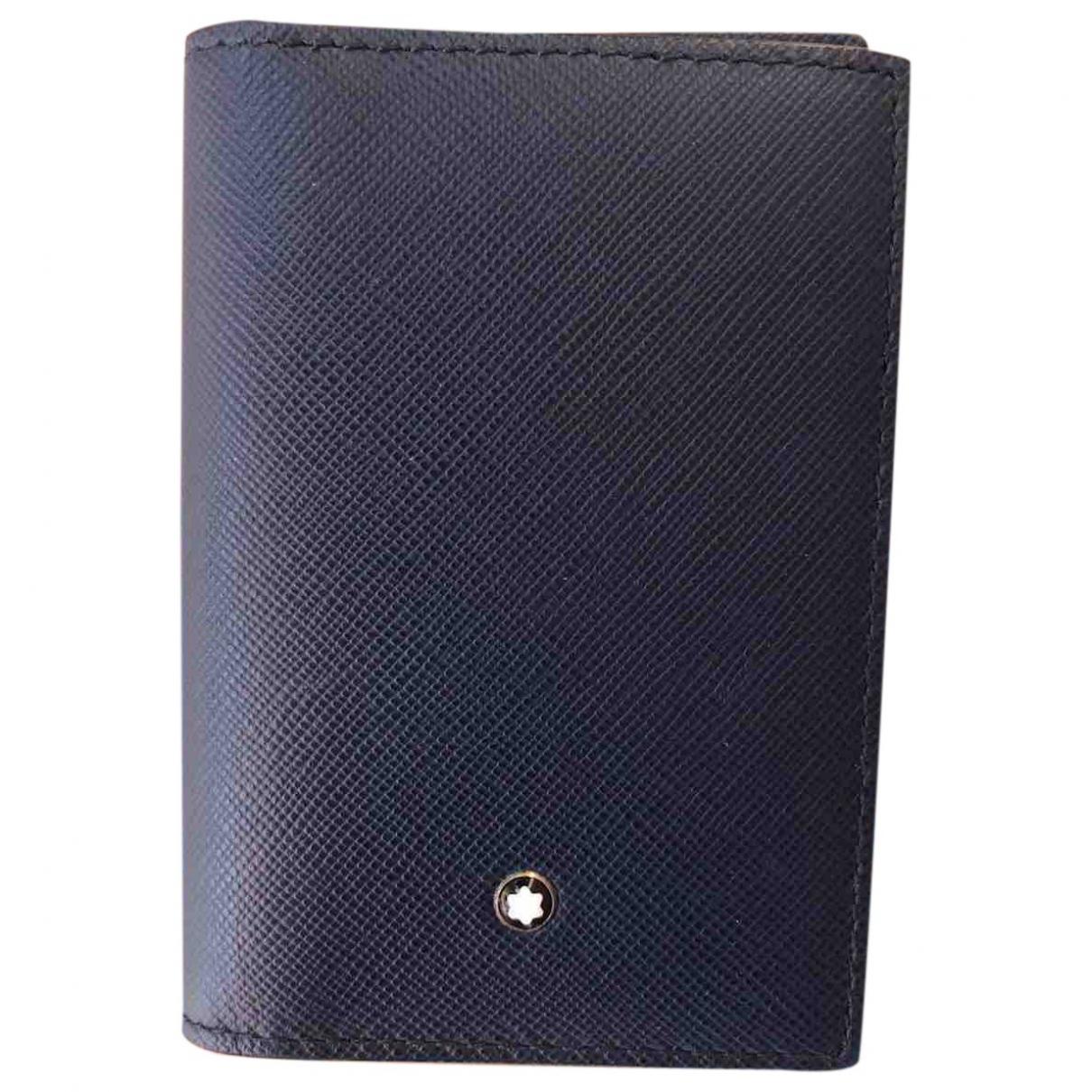 Montblanc \N Portemonnaie in  Blau Leder