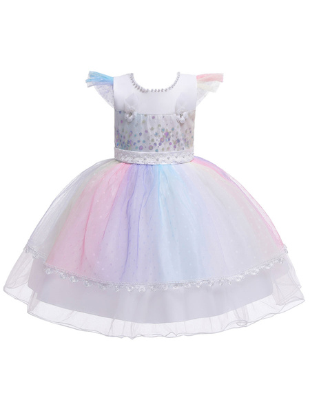 Milanoo Flower Girl Dresses Jewel Neck Tulle Short Sleeves Knee Length Princess Silhouette Flowers Kids Social Party Dresses
