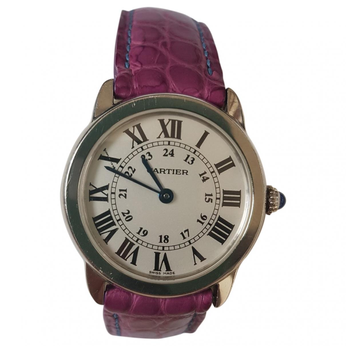 Cartier Ronde Louis Cartier Uhr in  Schwarz Stahl